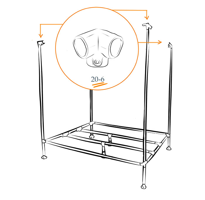 Industrial DIY canopy bed Kee Klamp fittings