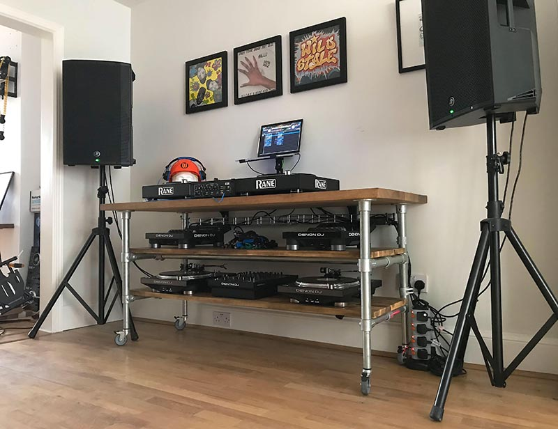 Custom DJ table made of fittings and tube