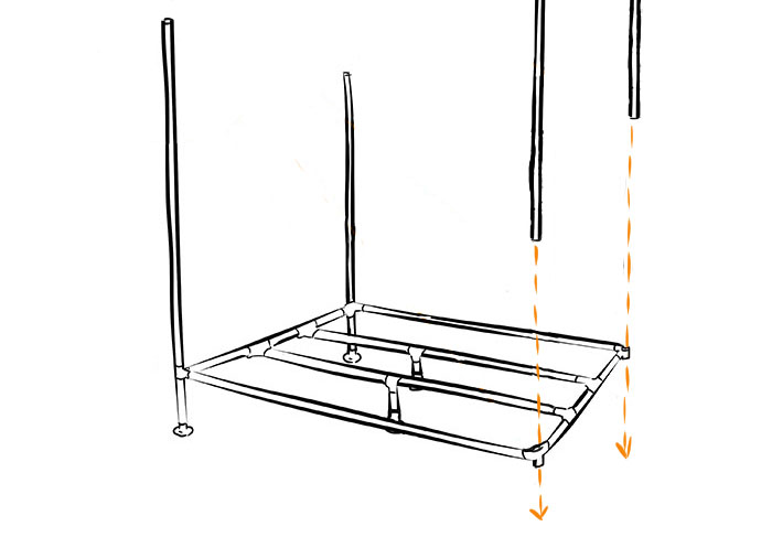 Industrial DIY canopy bed