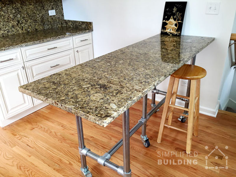 Kee Klamp table frame for granite tops