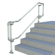 DDA-D518 - DDA compatible floor mounted handrail - Double rail