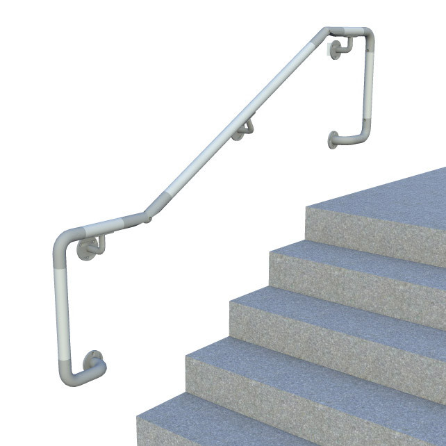 DDA compatible wall mounted handrail - D return