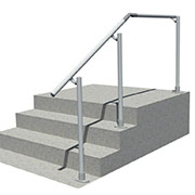 Aluminium handrail for steps and landing